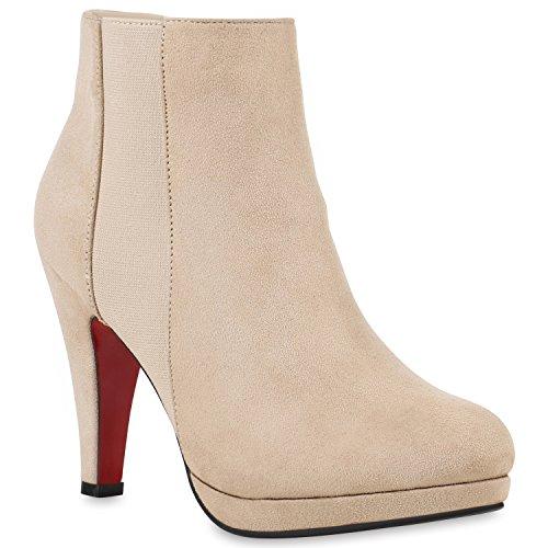Damen Ankle Boots Fransen Stiefeletten Zipper Schuhe 121582 Creme Brito 38 | Flandell (Keine 2 Bleistift Kostüm)