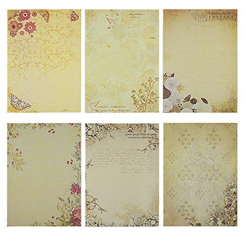 Rancco 60 pc scrittura cancelleria carta / carta letter set, classic vintage design lettera di carta scrittura, disegno schizzo pads, stampabile (6 modelli, 10 fogli per il modello)
