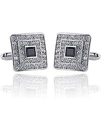 Hosaire 1 Pair Fashion Diamond Cannabis Cufflinks Cuff Links Womens Mens Dress Business Wedding Cufflinks Gift Present(Sliver)
