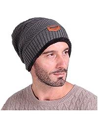 Beanie Uomo Invernali Cappelli Inverno Berretti in maglia Cappello  Invernale Beanie Unisex Caldo Cappello per Sci 900b87097173