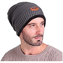 Hombres Cozy Invierno Beanie de Punto Universal Cálido de Punto de esquí Beanie  Hat cráneo Slouchy bce0966c57f
