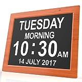 Digitale Kalenderuhr - Digitaluhr mit extra großer Schrift für Kinder, Senioren, Sehschwache und Alzheimer Patienten, mit 5 Alarm Optionen (Braun)
