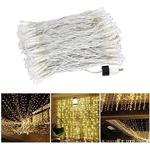 Blusmart Luces de cortina 30V de baja tensión luz de la secuencia, 3M*3M 300LEDs, Blanco cálido luces de Navidad para el hogar, de vacaciones, del partido, de pared exterior, Contextos de la boda, Cortinas, Decoración de pared