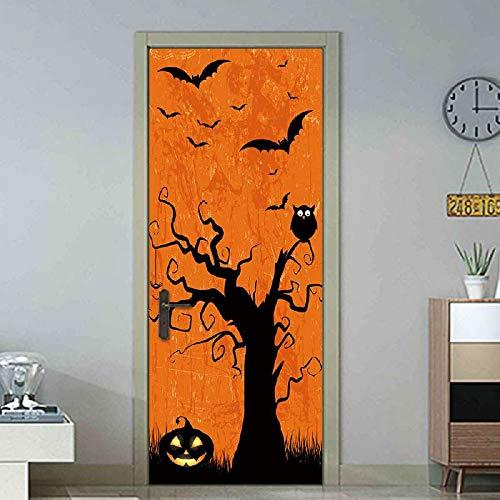 YSFU Wandsticker Türaufkleber Halloween Scary Clown 3D Aufkleber Kunst Dekor Wand Fenster Tür Aufkleber Removable Wandbild Szene Dekoration
