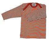 Cosilana Baby Schlupfhemd, Größe 74/80, Farbe geringelt Safran-Orange Natur - Wollbody®GmbH