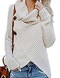 Paris Hill Damen Pullover Warm Lose Pullover Hemd Lange ärmel Rollkragenpullover Tops BEIGE M