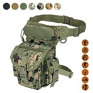 militaire tactique goutte jambe Sac Outil Fanny Lot de la cuisse jambe Rig Utility Pouch Paintball Airsoft Moto d'équitation Thermite Versipack, Noir/marron clair/vert armée/ACU Camouflage/jungle Camouflage Disponible, Motif camouflage