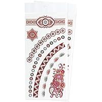 Zooky® Braccialetto e collana Pizzo Fiore colorato Gioielli Tatuaggi temporanei impermeabili, adesivi metallici per corpo LH-011, set 2 pezzi, Rosso