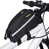 Selighting Fahrradtasche, Fahrrad Oberrohrtasche Wasserdicht Rahmentasche für Mountainbike Rennrad (Schwarz)