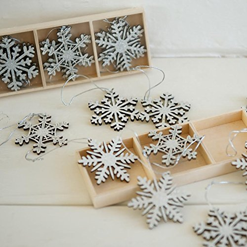 9 x Silver Vintage Wooden Snowflake Christmas Tree Hanging Decoration Ornaments
