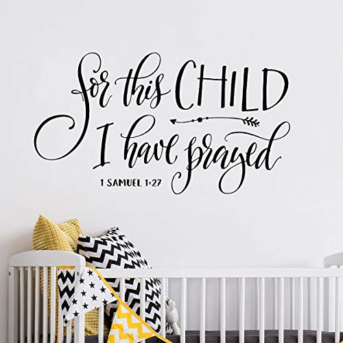 Kinderzimmer Wall Decal F¨¹r dieses Kind betete ich Wall Decal Christian Wall Decal Schrift Decal Kinderzimmer Wall Art Bibel Vers Wandaufkleber (Christian-stick Wall Decals)