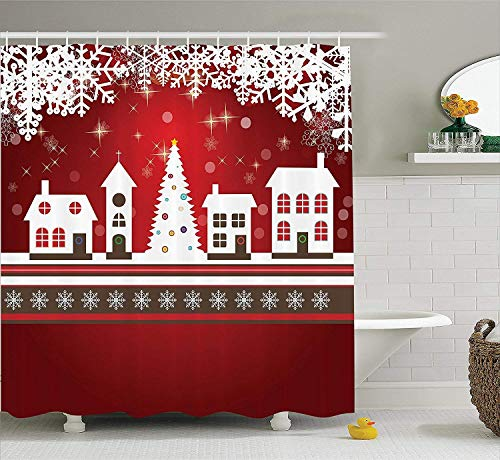 werert Christmas Shower Curtain, Winter Holidays Theme Gingerbread House with Trees and Snowflakes Artwork Print, Fabric Bathroom Decor Set with Hooks,Red White 72 X 72 -