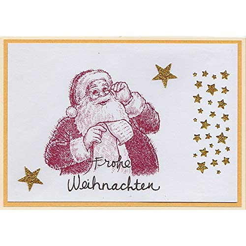Karte - Weihnachtskarte - WEIHNACHTSMANN - gold gelb rot