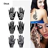 Formemory 6 Sheets Mehandi Schablonen Henna Tattoo Schablonen Henna Designs Set für Glitter Tattoo und Air Brush Tattoo Geeignet , temporäre Tattoo Schablonen für Mädchen.