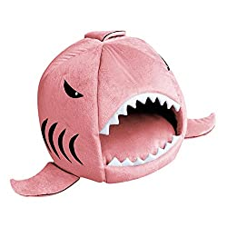 ELECTROPRIME Cat Pet Shark Bed Puppy Dog Cozy Warm Cushion Mat Nesting Rest Bed Pink M