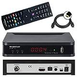 Megasat HD 650 T2 Full HD HEVC DVB-T/T2 Receiver + 1,5m HDMI Kabel (H.265, HDTV, HDMI, kartenloses Irdeto-Zugangssystem für freenet TV, Mediaplayer, USB 2.0, 12V) schwarz