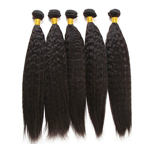 Extension Cheveux Humains Extensions capillaires tissage tissage raide/épais brésilien Yaki couleur naturelle 30,5 cm 35,6 cm 40,6 cm 45,7 cm (Lot de 4, 50 g/pc)