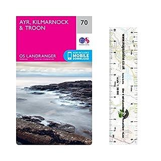 Landranger 70 ~ Ayr, Kilmarnock und Troon Wanderkarte mit einem kostenlosen Maßstabslineal
