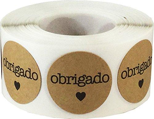 Marrón Kraft Circulo con Negro Obrigado Pegatinas, 25 mm 1 Pulgada Redondo, 500 Etiquetas en un Rollo