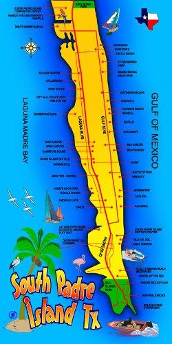 South Padre Island TX Karte Strandtuch-30x 60 -