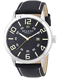 Regent 11110657 - Reloj de pulsera hombre, piel, color negro