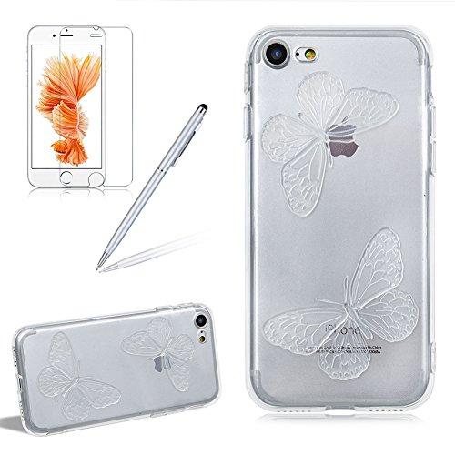 Custodia per Apple iPhone 7 Plus / iPhone 8 Plus Silicone Trasparente Farfalles - Girlyard Morbida Crystal Clear Leggera Sottile Coperture Protettiva Case Cover in TPU Antiurto Antipolvere per Apple i Verde