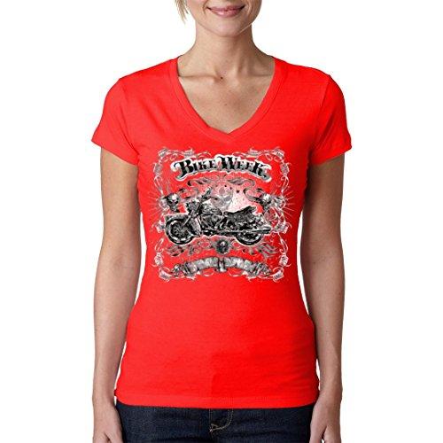 Biker Girlie V-Neck Shirt - Bike Week - Gothic Chopper by Im-Shirt - Rot XL -