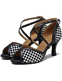 Zapatos de mujer Baile Enrejado blanco negro Salón de baile latín Taogo Zapatillas Sandalias Tamaño 35 a 40 ,...