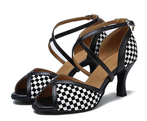 Damenschuhe Tanzen Schwarz weißes Gitter Ballsaal Latein Taogo Pumps Sandalen Größe 35 bis 40 , EU35 (Kleid, Karriere-hosen Schwarzes)