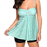 OSYARD Damen Bauchweg Badeanzug Beachwear Übergröße Bikinis Frauen Gepolsterte Bademode Badeanzüge Tankini mit Hotpants Bikini Set Zweiteiler Plus Size Badebekleidung mit Streifen