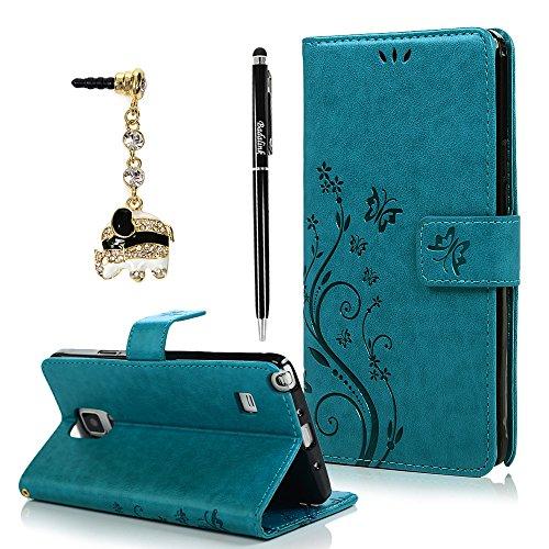 BADALink Hülle für Samsung Galaxy Note 4 Hülle Schutzhülle Bunt PU Leder Flip Wallet Case Brieftasche mit Magnetverschluss Carving Reben Blumen Schmetterling Cover Handyhülle Schale Blau