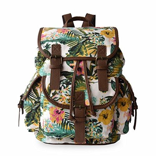 Aidonger niña de lona y piel sintética mochila Schoolbag, flores (multicolor) - BB-01