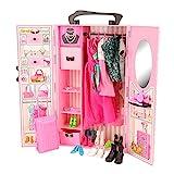 Miunana 44 Accessories: Armadio + 8 Abiti Vestiti + 10 PCS Scarpe per Barbie Dolls Bambola + 2 Abiti + 2 PCS Scarpe per Ken + Valigia + 10 Accessori + 10 Grucce