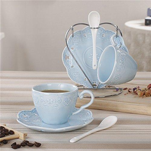 Tasse de café en céramique / Tisane créative / Tasse de café simple / 2 tasses 2 disques (3 couleurs en option) ( couleur : C )