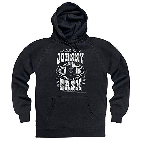 Official Johnny Cash Felpa con cappuccio Hello I'm Johnny Cash, Uomo, Nero, XL