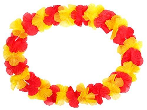 Lot de 48 collier Hawaïen rouge jaune HK-11 hawaien Hawaï hawaii Hula fleur pétale ambiance tropique déguisement fête beach party été plage printemps accessoire fête mariage anniversaire