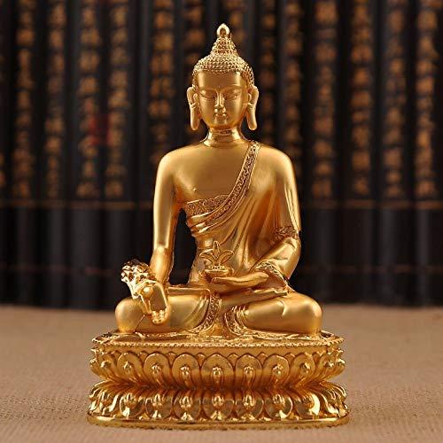 FOXIANG Estatua de Buda Estatua de Buda Shakyamuni Figurilla de Cobre 6 Pulgadas Figura Amitabha de Buda Templo Solemne Decoración-Medicina Buda