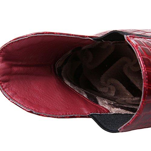 AllhqFashion Femme Tire Pointu Talon Gros Haut Bas Bottes Rouge
