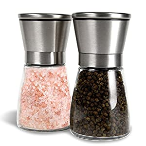 Salt and Pepper Mills, Allezola Premium Salt and Pepper Grinder Set with an Adjustable Ceramic Rotor and Glass Body, Brushed Stainless Steel and Glass Salt Mills and Pepper Mills Salt and Pepper Shakers - Set of 2 from Allezola