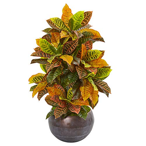 Nearly Natural 9493 Croton Kunst-Metallschale (Real Touch), Seidenpflanzen, 94 cm, Orange