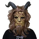 QQWE Máscara De Cosplay De La Bella Y La Bestia Cabeza De Mascarada De Halloween Película De Cosplay Accesorios De Disfraces Máscara De Látex del Arnés De Beast Prince,A-OneSize
