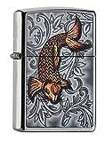 Zippo Feuerzeug PL 207 Tattoo 3D Koi 60002351 Benzinfeuerzeug, Messing, Street Chrome, 1 x 3.5 x 5.5...