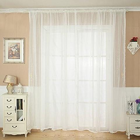 Tongshi Sheer color sólido de tul Puerta cortina de la ventana Panel de drapeado bufanda cenefa (Blanco)