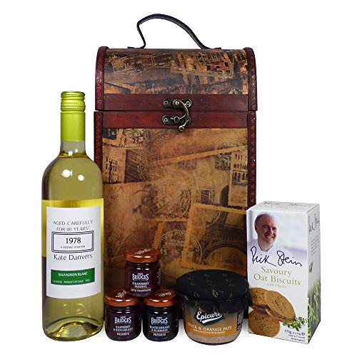Clarendon Vintage Wooden Wine Chest Food Hamper with 750ml Personalised Fine White Wine - Gift Ideas for Birthday, Valentines, Mothers Day, Wedding, Anniversary, Business and Corporate