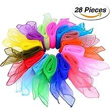 28 Piezas Pañuelo de Baile Malabarismo Bufanda Cuadrada Bufandas Mágicas, 14 Colores, 24 por 24 Pulgadas