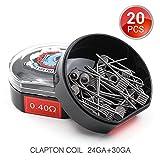 Boîte de 20 PCS Clapton Coils Préfabriqués, Vapethink Fil de Résistance Wire, AWG(24GA + 30GA) 0.4ohm