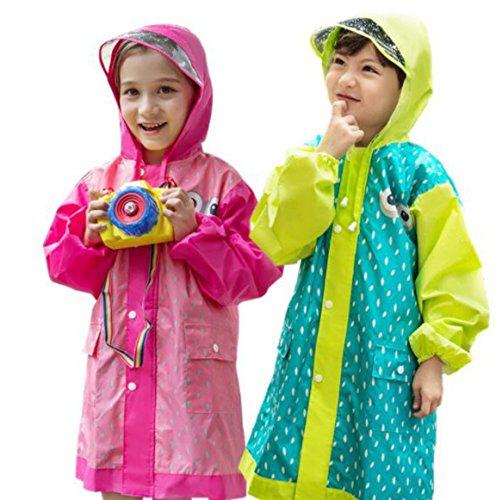 Tokkids - Impermeabile bambino pioggia, Antipioggia per bambini, Raincoat bambino, leggero e resistente (Rosa, S-altezza 90-110cm/3-5anni)