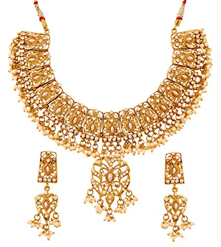 Touchstone Golden Plated Indian Bollywood Kundan Look Faux Pearls Bridal Jewelry Necklace Set For Women  available at amazon for Rs.449