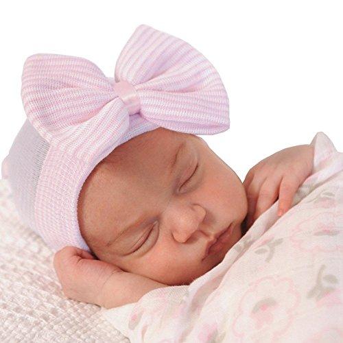 iEFiEL Babymütze Baby Mädchen Mütze - Neugeborenenmütze Erstlingsmütze Strick Mütze Hut- Baumwolle (One Size, Rosa)