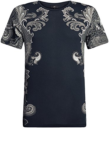 oodji Ultra Herren Baumwoll-T-Shirt mit Druck Grau (7925P)